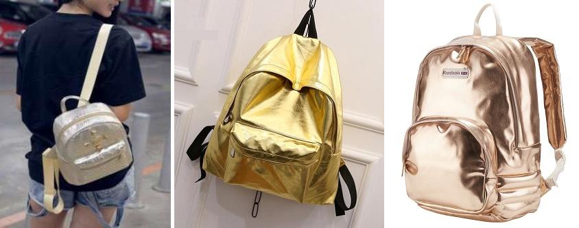4f74204532ca Романтические весенние наряды в сочетании с рюкзаками из кожи с эффектом  металлик – отличное решение! Серебристый, перламутровый и голубой –  практически ...